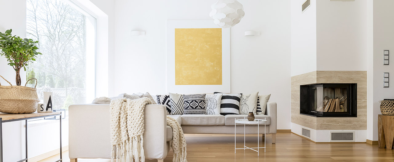 White walls and ceilings blend seamlessly